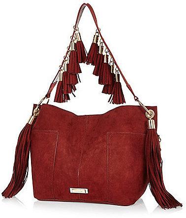 Dark Red Faux Suede Fringed Bucket Handbag