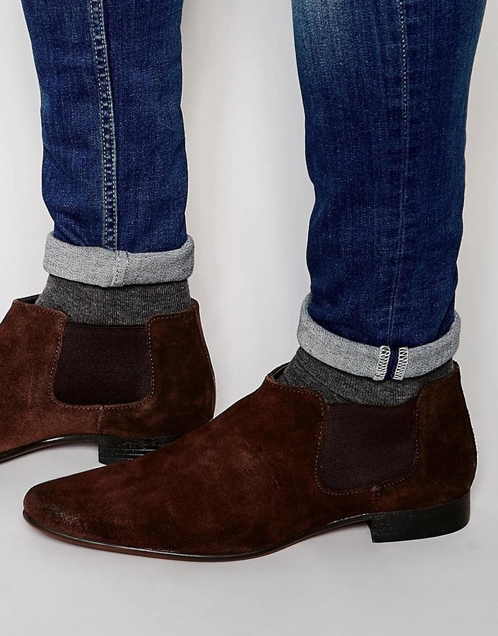 Asos Brand Chelsea Boots In Brown Suede