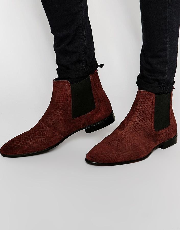 Asos Brand Chelsea Boots In Burgundy