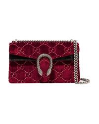 Gucci Dionysus Patent Med Embossed Velvet Shoulder Bag