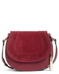 Kirie suede leather crossbody saddle bag grey medium 4913194