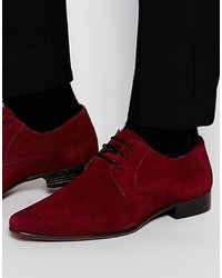 Asos Brand Derby Shoes In Burgundy Suede