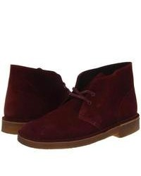 Clarks desert boot lace up boots burgundy suede medium 101827