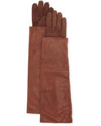 Brunello Cucinelli Leather Suede Long Gloves Bordeaux