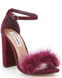 Steve Madden Carabu Feather Suede Block Heel Dress Sandals
