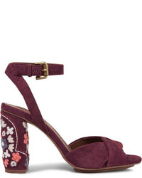 See by chlo embroidered suede sandals burgundy medium 6569795