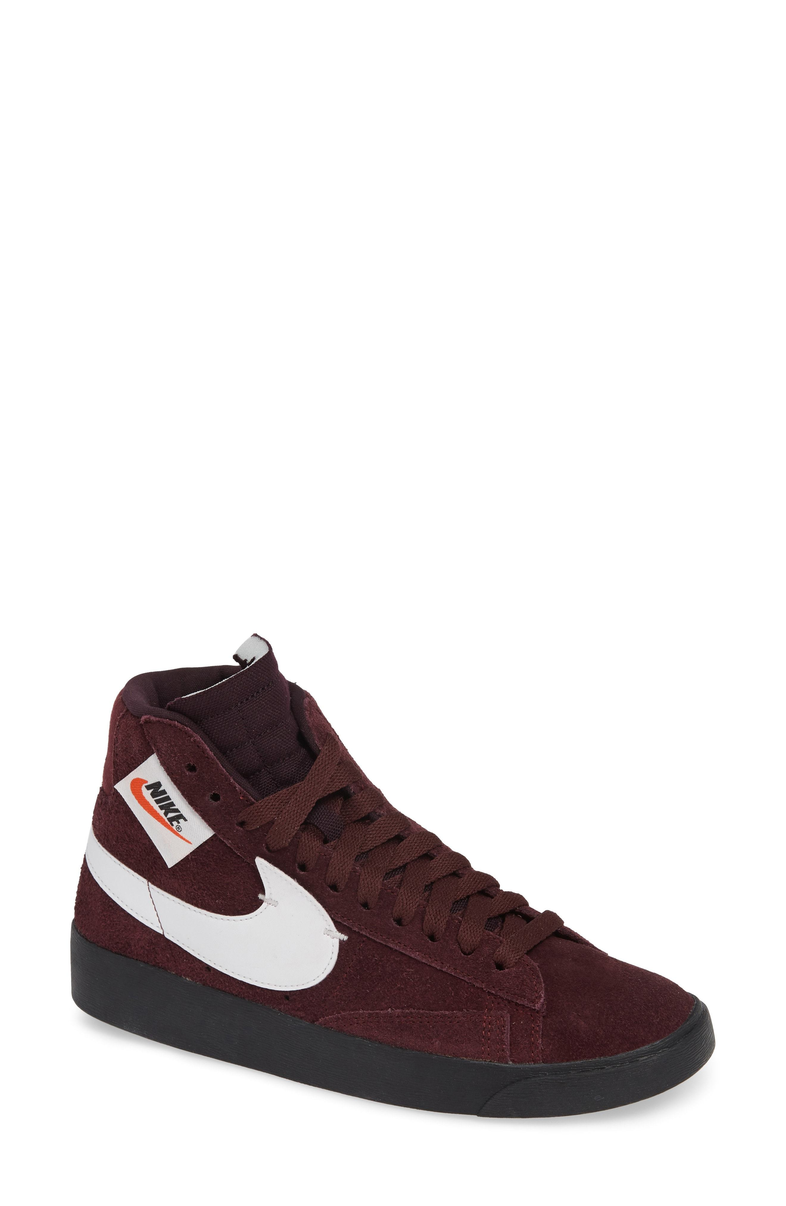 new arrival 63382 a9a4a ... Burgundy Suede High Top Sneakers Nike Blazer Mid Rebel Sneaker