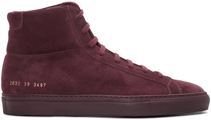 e22bc32280088 ... Common Projects Burgundy Original Achilles High Top Sneakers ...