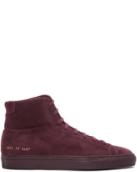 Common Projects Burgundy Original Achilles High Top Sneakers