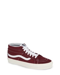 4ae0f140a6dad8 Burgundy Suede High Top Sneakers for Men