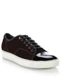Lanvin Suede Patent Leather Low Top Sneakers