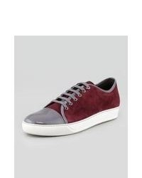 Burgundy Suede Low Top Sneakers