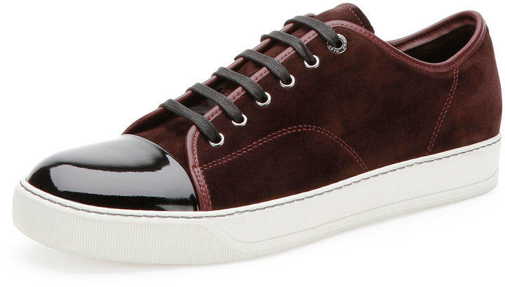 Lanvin Suede Patent Leather Low Top