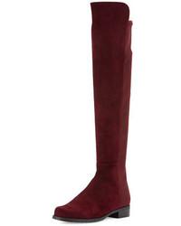Stuart Weitzman 5050 Suede Over The Knee Boot Bordeaux