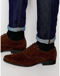 Asos Brand Oxford Shoes In Brown Faux Suede