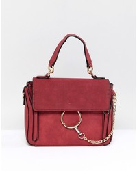 PrettyLittleThing Ring Detail Cross Body Bag In Red