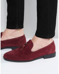 Burgundy Suede Tassel Loafers