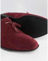 a97af6b052e ... Asos Tassel Loafers In Burgundy Faux Suede