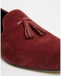 51d0afe0184 ... Asos Tassel Loafers In Burgundy Suede ...