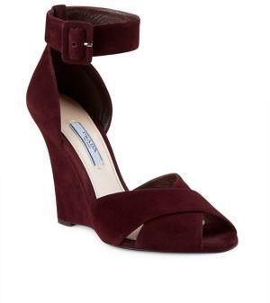 Prada Suede Crisscross Ankle Strap Wedge Sandals 790 Saks Fifth
