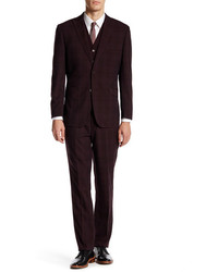 English Laundry Burgundy Plaid Two Button Peak Lapel Suit