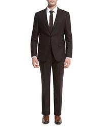 Hugo Boss Boss Johnstons Lennon Flannel Two Piece Suit Burgundy
