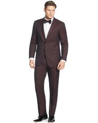 Perry Ellis Portfolio Burgundy Solid Slim Fit Suit