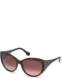 Balenciaga Cat Eye Acetate Sunglasses W Leather Inset Havanabordeaux