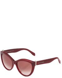 Alexander McQueen Cat Eye Plastic Sunglasses Burgundy