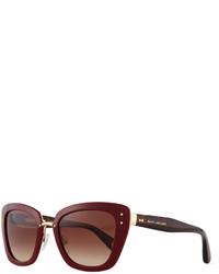 Marc Jacobs Cat Eye Stud Temple Sunglasses Burgundy