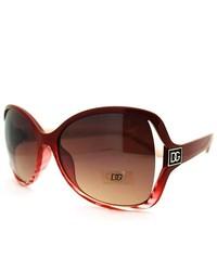 DG Eyewear Exposed Lens Butterfly Sunglasses Burgundy