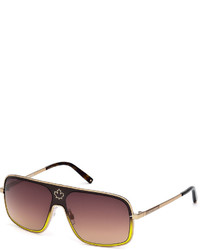 DSQUARED2 Gradient Metal Aviator Sunglasses Browngold