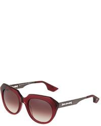 McQ by Alexander McQueen Mcq Alexander Mcqueen Modified Square Acetate Sunglasses Burgundy