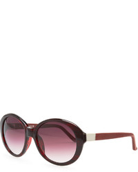 The Row Oval Leather Arm Sunglasses Red