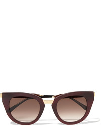 Thierry Lasry Snobby Cat Eye Matte Acetate And Gold Tone Sunglasses Burgundy