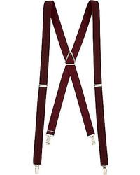 River Island Burgundy Herringbone Suspenders