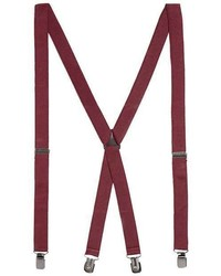 Topman Burgundy Plain Suspenders