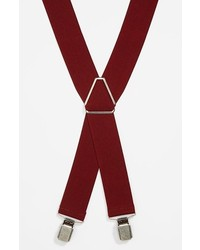 Topman Vintage Suspenders Burgundy One Size