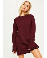Burgundy rib detail flared cuff sweater dress medium 3647265
