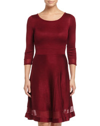 Andrew Marc Marc New York By 34 Sleeve Fit And Flare Sweater Dress Bordeaux