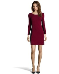 Hayden Maroon And Black Cashmere Rib Knit Illusion Sweater Dress