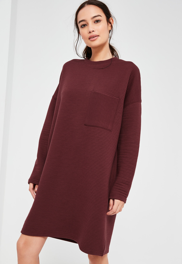 Dress16 Missguided Ribbed Pocket Burgundy Sweater F1Kc3JTl