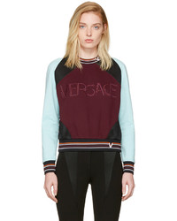 Versace Burgundy And Blue Colorblocked Logo Sweatshirt