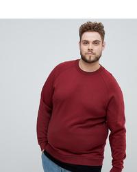 ASOS DESIGN Plus Sweatshirt In Burgundy With Hem Extender