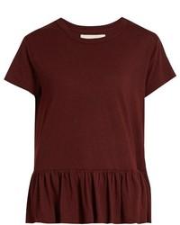The Great Peplum Hem Distressed Cotton T Shirt