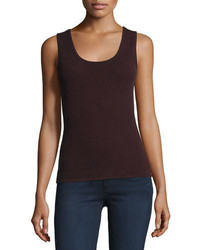 Neiman Marcus Cashmere Collection Scoop Neck Cashmere Tank Plus Size