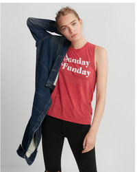 Express Red Sunday Funday Muscle Tank