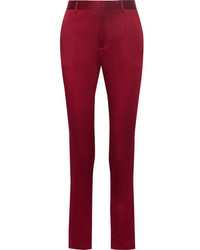 Haider Ackermann Crepe De Chine Tapered Pants Burgundy