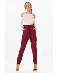 Boohoo Violet Premium Paper Bag Waist Belted Trouser