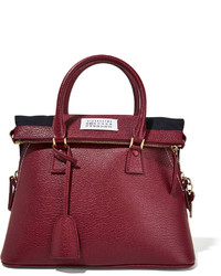 Maison Margiela 5ac Small Textured Leather Tote Burgundy
